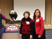 Darlene Miller and daughter, Kim Dolan, attend a presentation by The National Eagle Center.